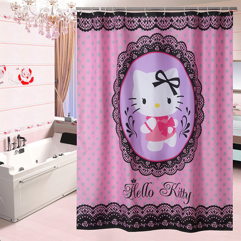 2017 New Fashion Hello Kitty Pink Tropical Shower Curtain Bath Screens Polyester Waterproof Curtains In The Bathroom
