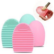 1PC Egg Shape Silicone Brush Cleaning Mat Make Up Cleaner Glove Scrubber Board Cosmetics Clean Gel Washing Tool