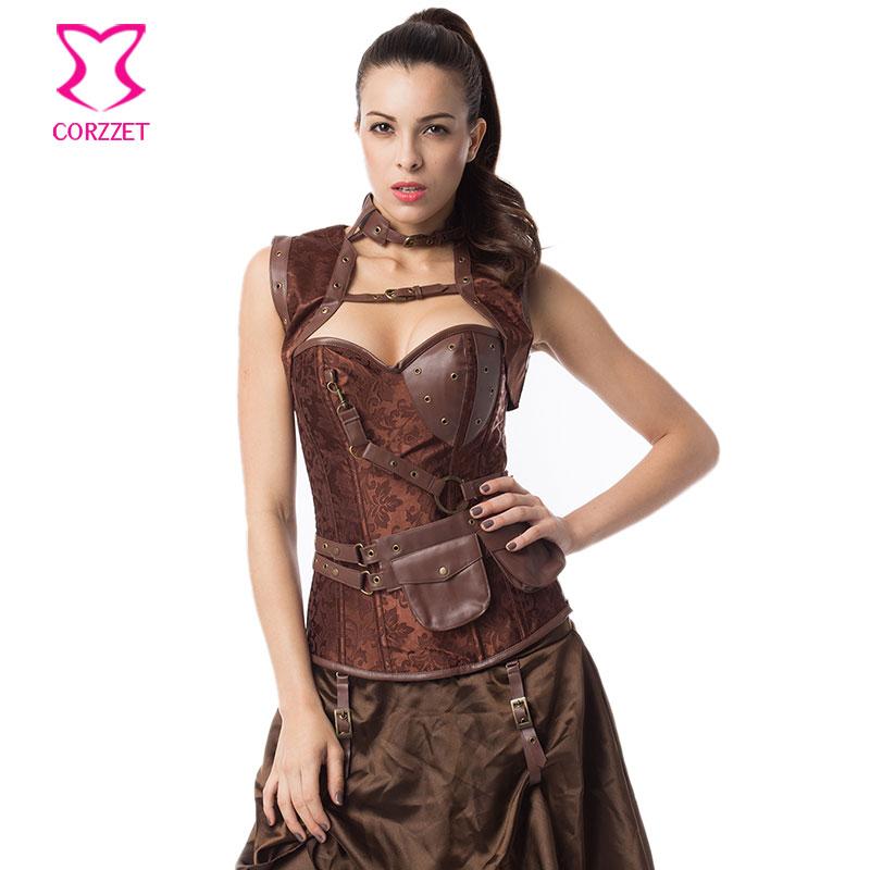 Vintage Brown Steel Boning Overbust Corset Waist Training Steampunk Busrier Outwear Women Corpete Corselet Burlesque Clothing