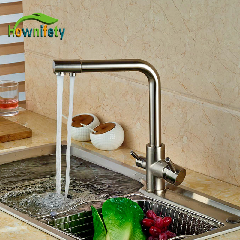 Brushed Nickle Kitchen Pure Water Faucet Swivel Spout Tap Hot&Cold Faucet Deck Mounted dual spout kitchen purification faucet drinking tap pure water faucet hot and cold mixer taps chrome brushed nickle gold