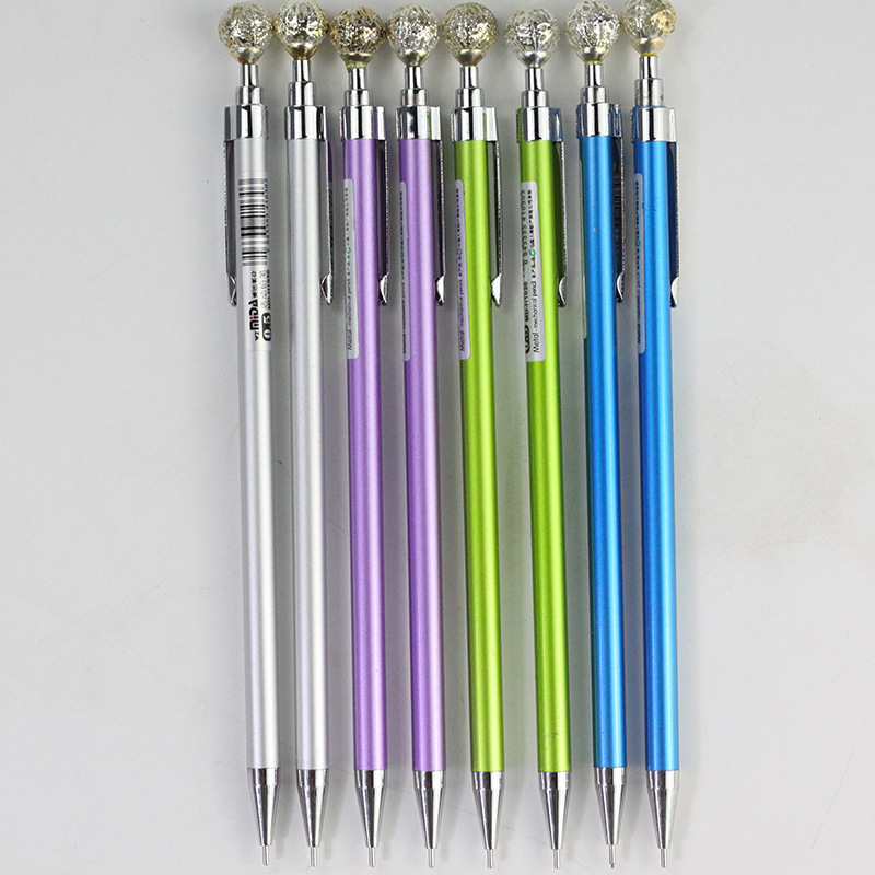 0 5 0 7mm Fashion Metal Mechanical Pencil Colorful Gem Decoration Automatic Pencils For Student Writing Drafting Pen Stationery in Mechanical Pencils from Office School Supplies