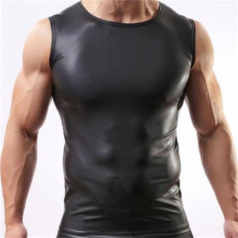 2016 Black Color Men Sexy Vest Faux Leather Solid Male   Tank     Tops   Underwear Slim Wear Size M L XL Wholesale