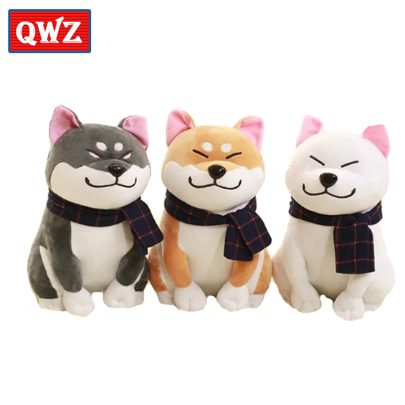 QWZ1pcs 25cm Cute Wear Scarf Shiba Inu Dog Plush Toy Soft Animal Stuffed Toy Smile Akita Dog Doll for Lovers Kids Birthday Gift 90cm soft feather cotton dog doll dog plush toy sleeping pillow stuffed toy cute cartoon animal doll toys gifts for birthday