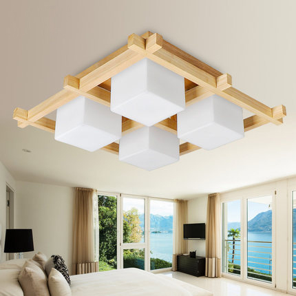 Modern Minimalist Anese Style Korean Bedroom Ceiling Light Study Restaurant Living Room Cozy Real Wood Gl Lamp