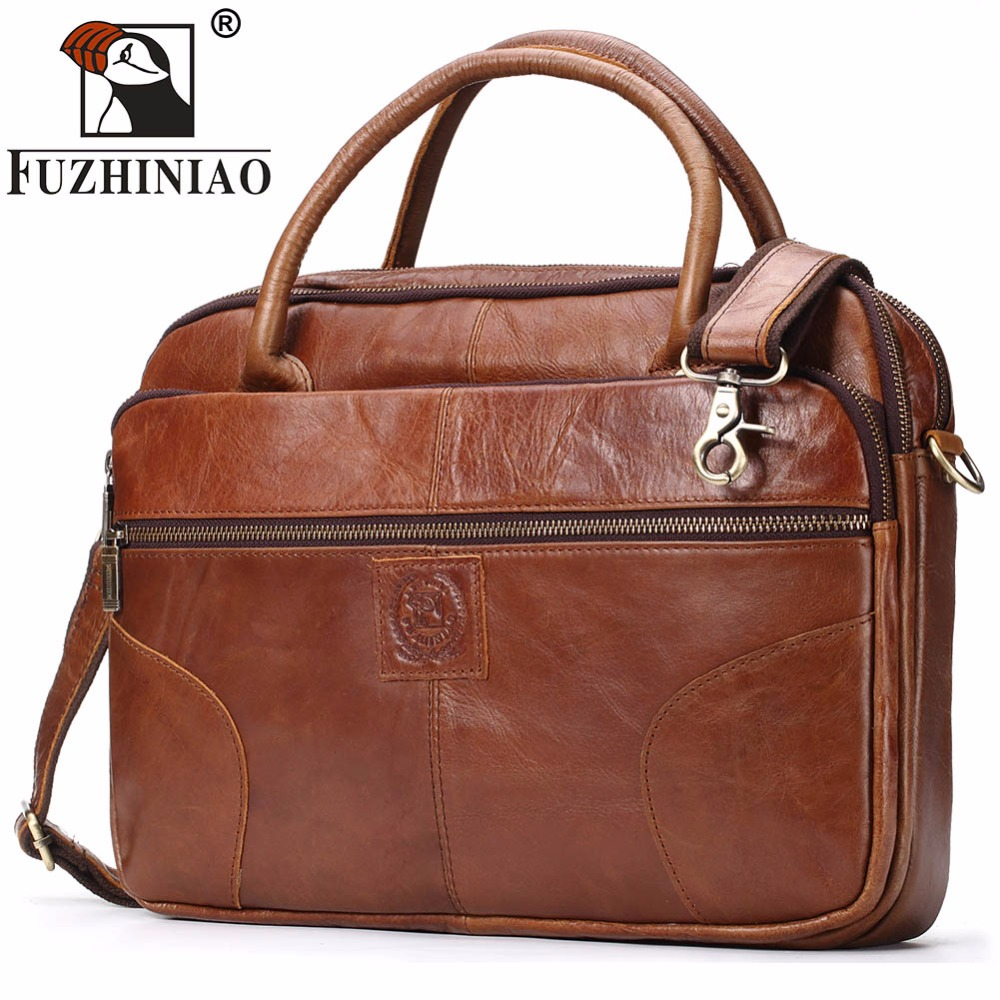 FUZHINIAO Men's Briefcase Tote Men Messenger Bag Brands Travel Laptop For Document Business Genuine Leather Shoulder Bags Male multifunctional genuine leather cowhide dark coffee men briefcase tote back pack business bag fit 15 laptop pr577026q 1