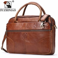 FUZHINIAO Men S Briefcase Tote Men Messenger Bag Brands Travel Laptop For Document Business Genuine Leather
