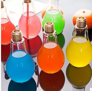 Decor Drink Bottles Inspiration 200Ml Light Bulb Glass Beverage Tea Water Drink Bottle With Lid Design Decoration