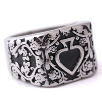 Men S Punk 316L Stainless Steel Ring Cool Tribal Ace Of Spades Biker Ring Gothic Men