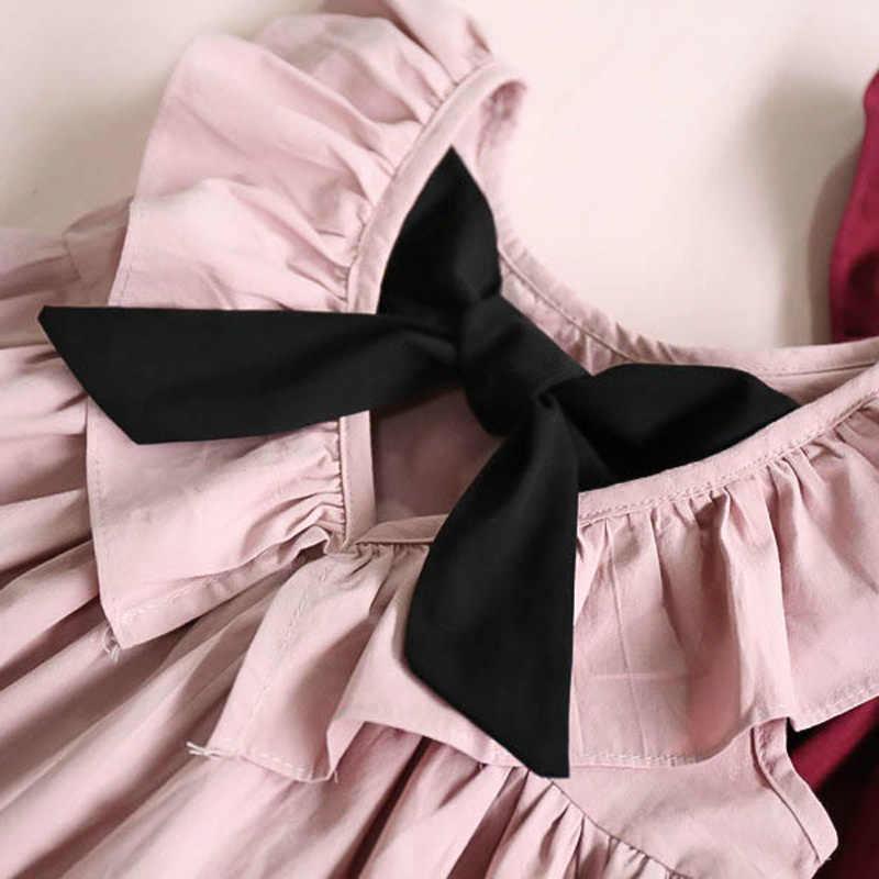 Summe/Новое Элегантное стильное модное платье принцессы с бантом и рукавами-летящими рукавами для вечеринок детская одежда Симпатичные костюмчики для девочек
