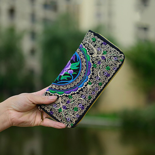 Women Wallets Brand Exquisite Embroidered Double Faced Floral Long Design Canvas Zipper National Trend Purse Card Holder national trend women handmade faced flower embroidered canvas embroidery ethnic bags handbag wml99