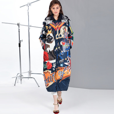 2019 new fashion women down coats jackets long Hooded printing street