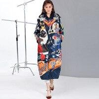 2019 new fashion women down coats jackets long Hooded printing street
