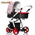 Cochecito para bebé de tres ruedas en dos sentidos con parachoques plegable