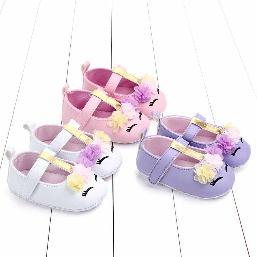 Fashion cute cartoon flower velcro comfort Cute Baby Girls  Newborn Infant Cartoon Floral Casual First Walker Toddler Shoes F5