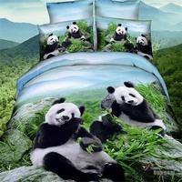 2015 Yeni Gelenler 3d Panda Yeşil Bambu Mavi Gökyüzü Yatak Seti kraliçe Boyutu 100% Pamuk Kumaş Nevresim Set Çarşaf Yastık
