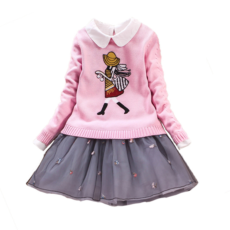 Children's Sets Autumn Big Girls Sweater Dress Set Baby Sweate Coat Lace Dresses 2pcs Long Sleeve Princess Clothing for 7y-12y