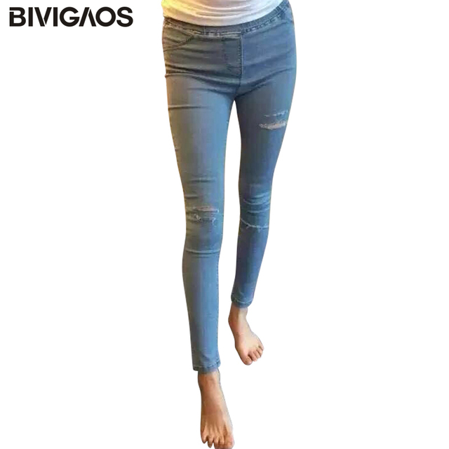 Aliexpress.com : Buy BIVIGAOS 5 Holes Ripped Skinny Jeans For ...
