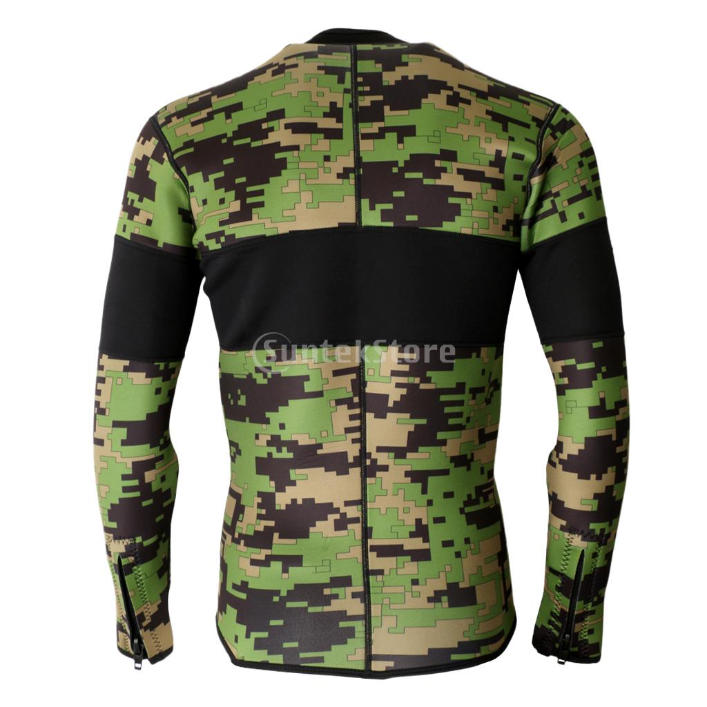 2 5mm Neoprene Green Camo Scuba Diving Wetsuit Top Snorkeling Surfing Winter Swimming Kayak Jetski Warm