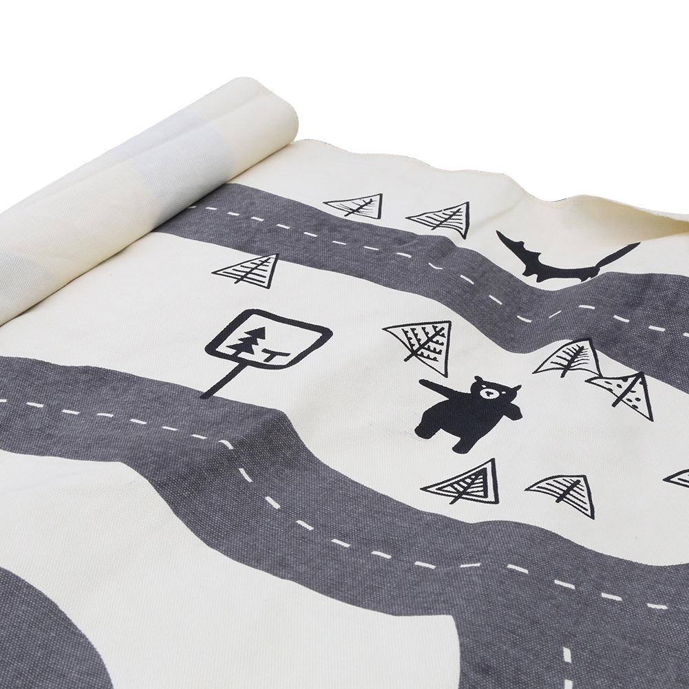 Kids Foldable Black And White Round Rug Nordic Canvas Forest Track Child Game Mat Blanket Children Room Decoration Crawling Mat