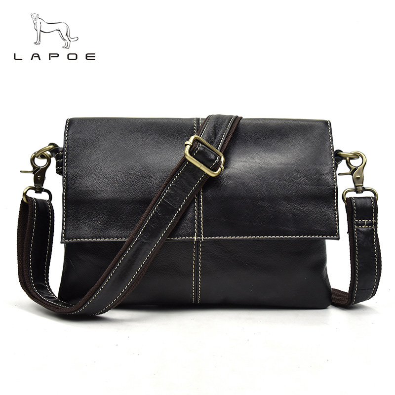 LAPOE Genuine Leather Men Bag Fashion Leather Crossbody Bag Shoulder Men Messenger Bags Small Casual Designer Handbags Man Bags genuine leather men bag fashion messenger bags shoulder business men s briefcase casual crossbody handbags man waist bag li 1423