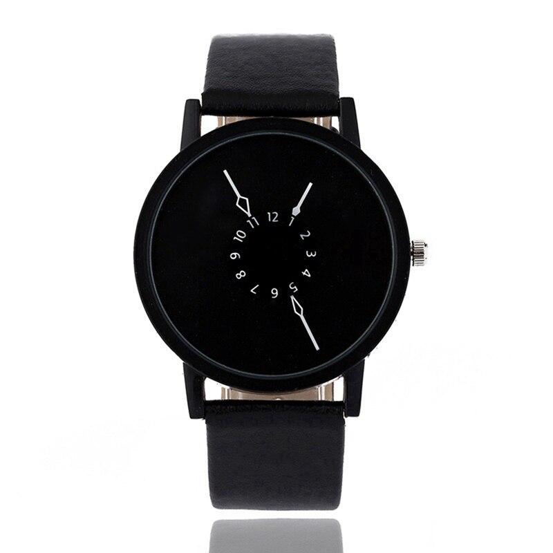 Fashion Unisex Quartz Watch Plain Dial Leather Simple Bracelet Men Women Sport Wristwatches Analog BlackBrown