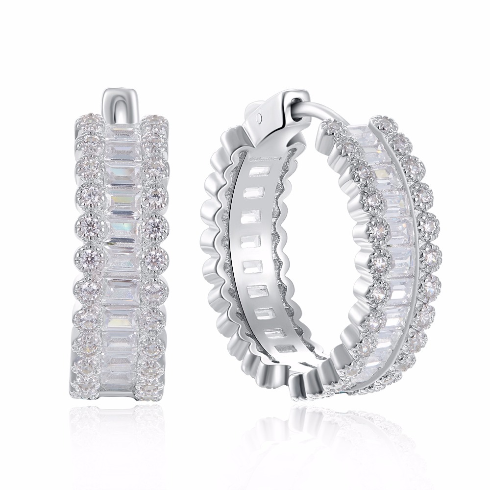 2019 New 925 sterling silver Hoop Earrings Made with Clear AAA Cubic Zirconia Trendy Party Earrings sterling silver jewelry