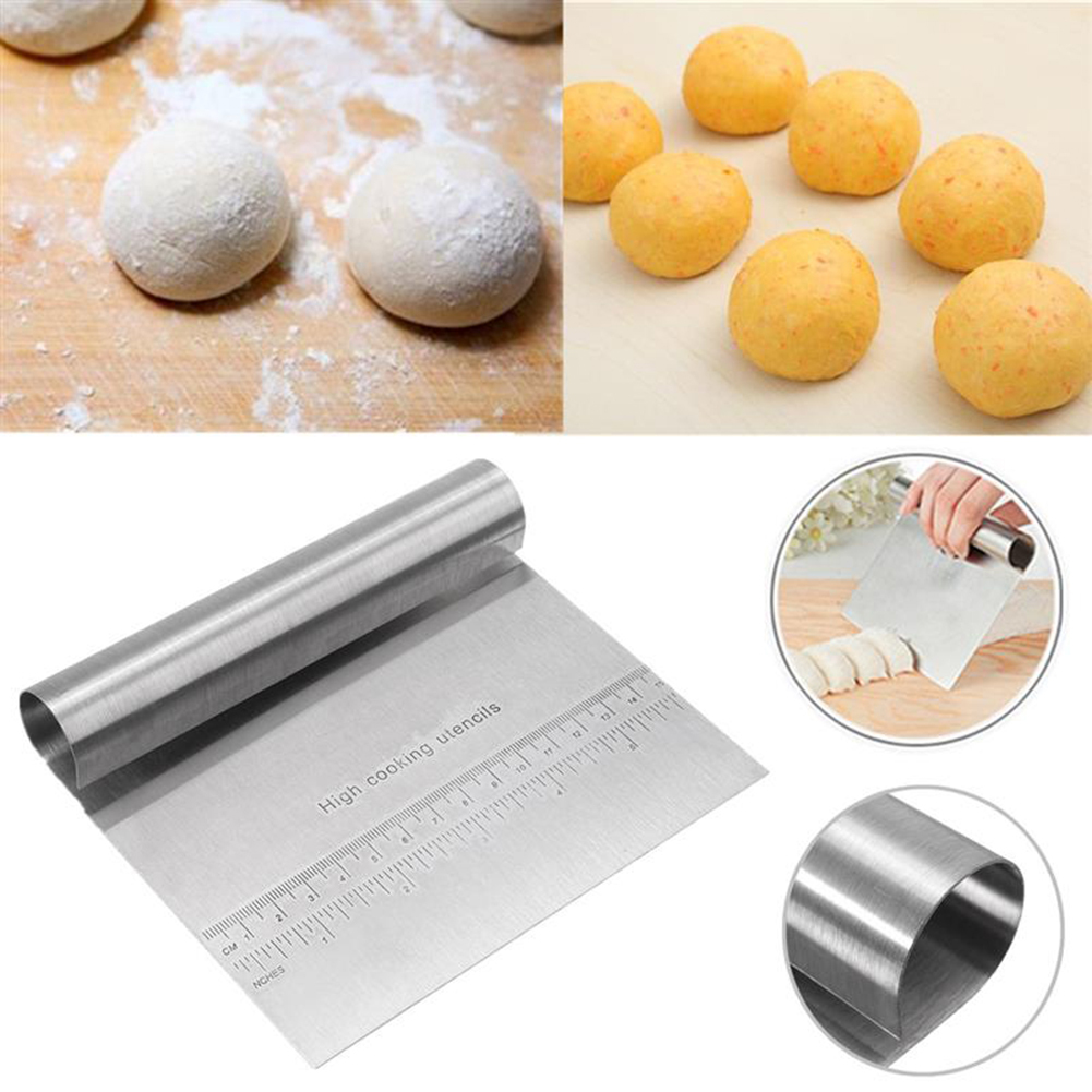1pc Stainless Steel Pizza Dough Scraper Cutter Baking Pastry Spatulas Fondant Cake Decoration <font><b>Tools</b></font> <font><b>Kitchen</b></font> Accessories image