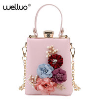New Women Black Envelope Evening Clutch Bags Ladies Day Clutches Female Wedding Bag Colorful Flowers Party