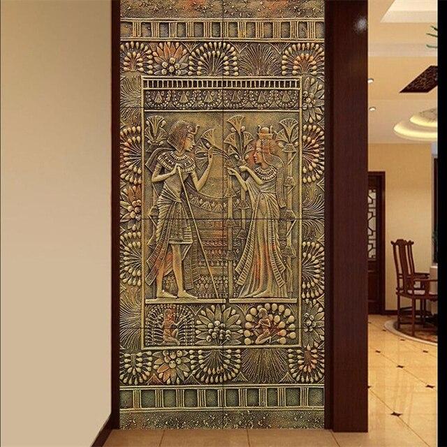 US $9.15 39% di SCONTO Beibehang soggiorno Su Misura antica cultura Egizia  ristorante porta del soggiorno pittura della decorazione della casa carta  ...
