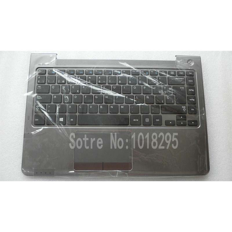 SP keyboard for FOR Samsung NP530U4B NP530U4C NP535U4C NP530U4BI 530U4 NP530U4 530U4B 530U4C NP520U4C Spanish Laptop keyboard genuine new palmrest cover upper case with touchpad us korean keyboard gray for samsung laptop np530u4b np530u4c np535u4c