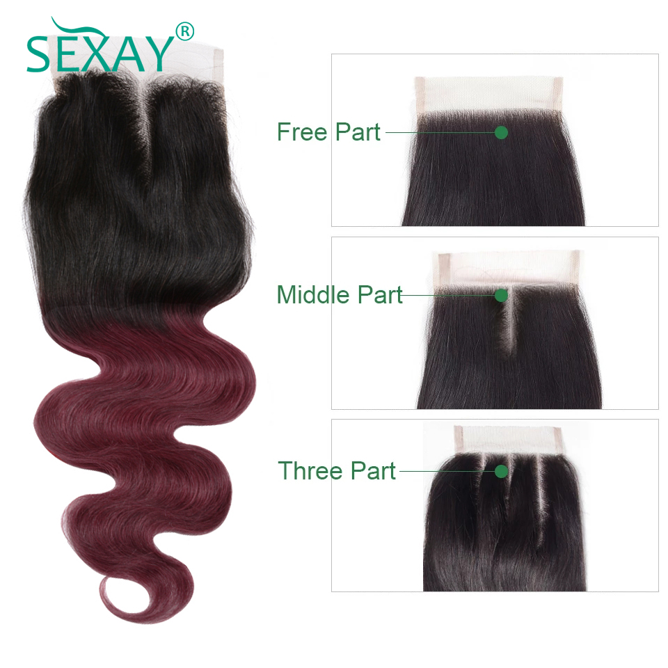 Sexay Burgundy Ombre Human Hair 1 Piece Lace Closures 2 Tone T1B/Wine Red Ombre Brazilian Body Wave Human Hair Lace Closures
