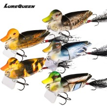 Купить с кэшбэком 5Pcs/lot Duck Fishing Lure Crankbait Minnow Jointed Hard Baits Lifelike 3D Eye Swimbait Fishing Tackle Wobbler Topwater 2018 New