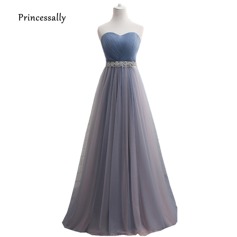 63d9a3e86b7 Robe De Soriee New Dusty Blue Bridesmaid Dresses Floor-length Cap Sleeve  Beading Pleat A-line Elegant Bride Wedding Prom Gown