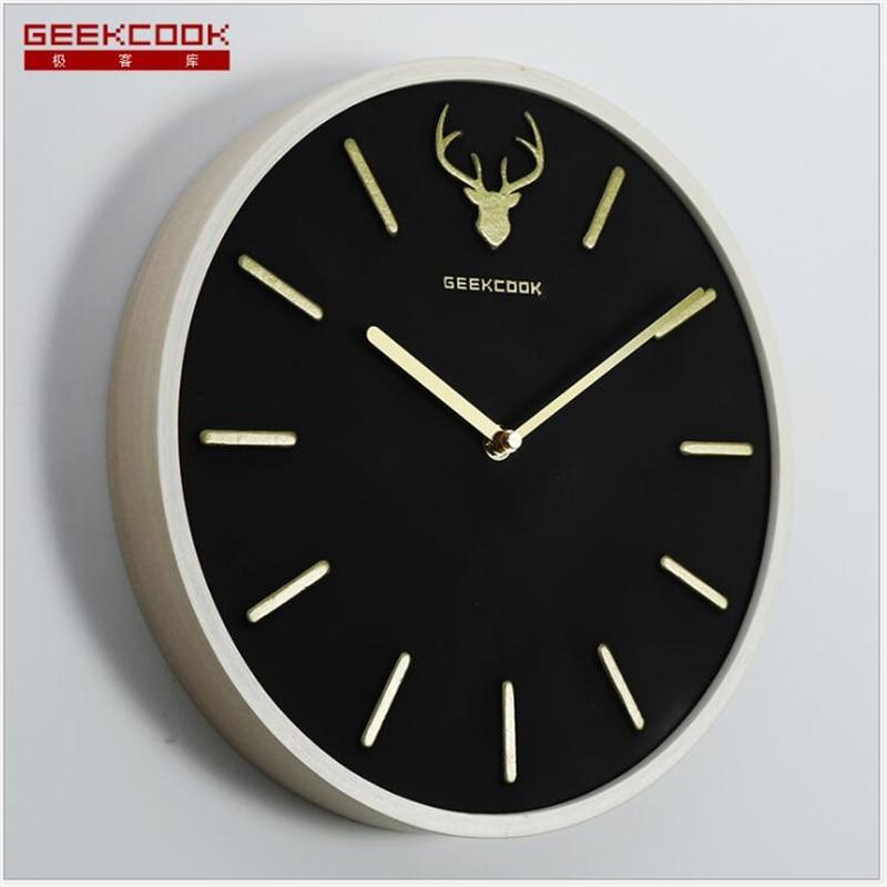Geekcook nouvelles horloges murales grande horloge murale en bois de charbon actif horloge murale Simple nordique créative décoration de la maison activée