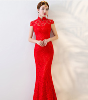 Red Bride Party Cheongsam Oriental Wedding Evening Dress Chinese Traditional Womens Qipao Sexy Lace Long Robe Retro Vestidos