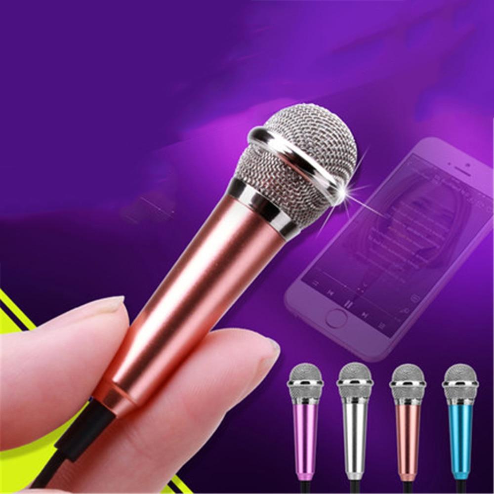 Алюминиевый сплав Мини 3.5 мм Портативный Караоке КТВ Мобильный Телефон Микрофон Проводной Маленький Диктофон Микрофон для Мобильного Телефона Компьютер