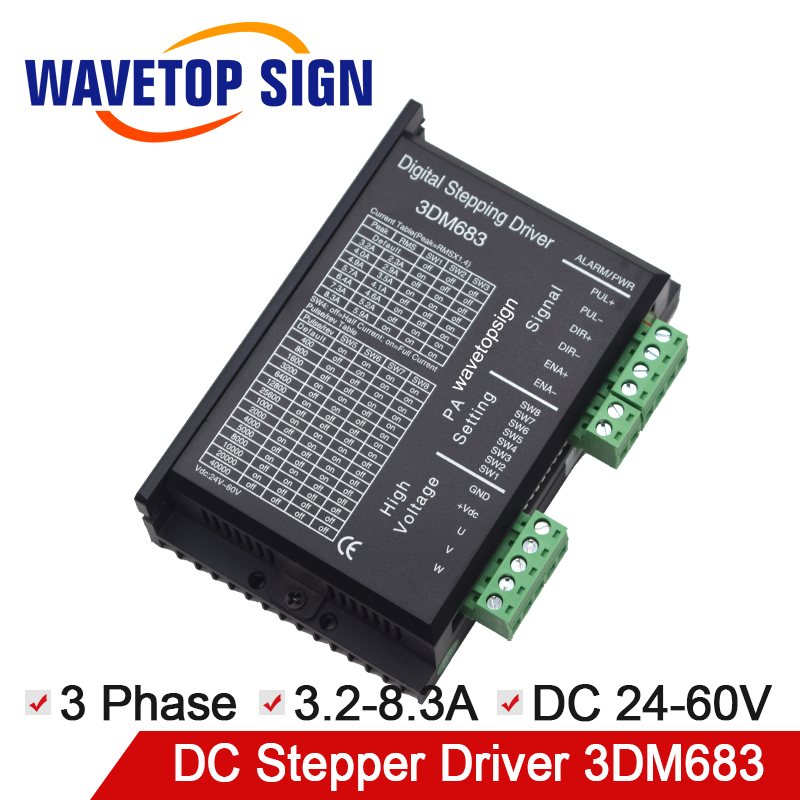 3Phase Stepper Motor Driver 3DM683 Voltage 24-60VDC Current 3.2-8.3A use for Engraving and Cutter Machine3Phase Stepper Motor Driver 3DM683 Voltage 24-60VDC Current 3.2-8.3A use for Engraving and Cutter Machine