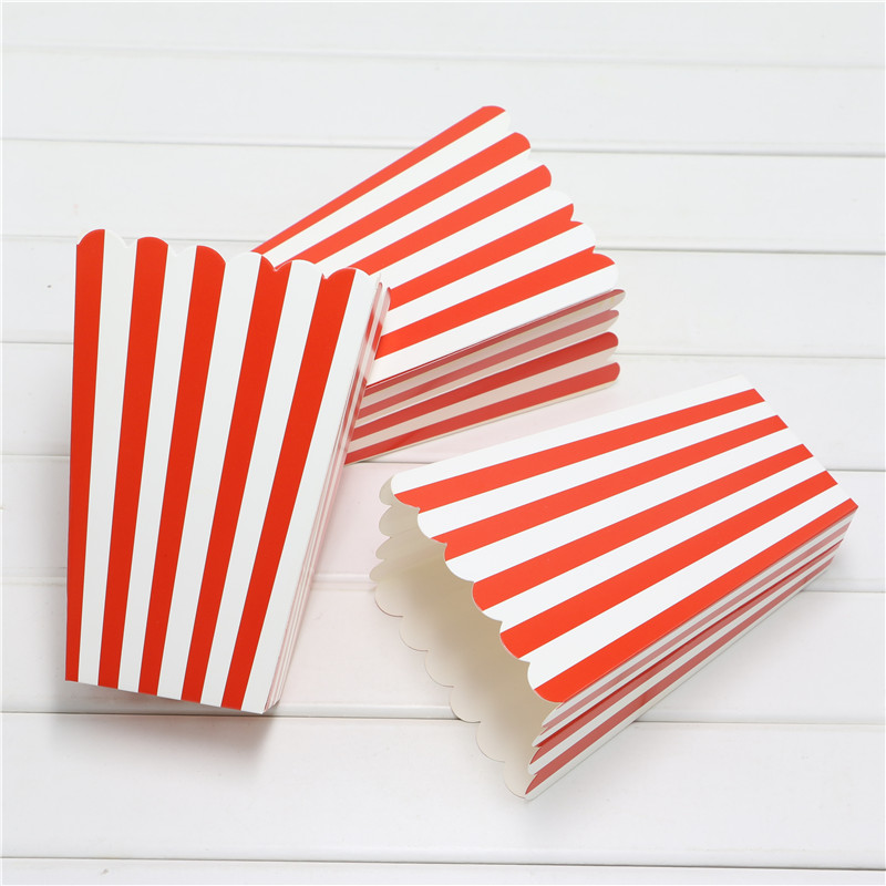 Set 1Bag 12pcs popcorn Boxes/Buckets/Bags red StripesParty/Food/Retro/Hollywood/<font><b>Movie</b></font>/TreatBirthday <font><b>Party</b></font> Favour Paper Bags