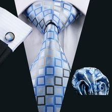LS-1128 2018 Mens Tie Blue Novelty 100% Silk Fashion Necktie Hanky Cufflinks Barry.Wang Ties For Men Formal Wedding Party Groom