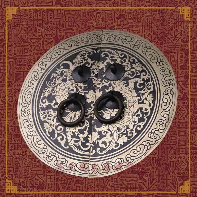 [Haotian vegetarian] bronze Ming Copper Door Handles 18cm Shuangfeng Chaoyang paragraph HTB-130 цена