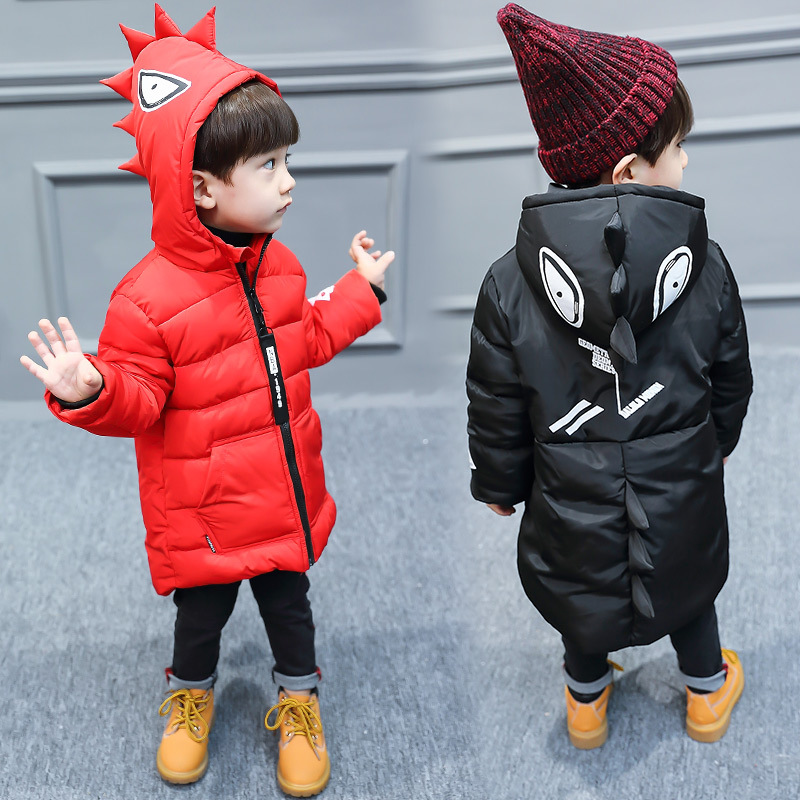 New Boys Winter Jacket Hooded red and black color coats Jongens Winterjas Boys Winter Jacket цена