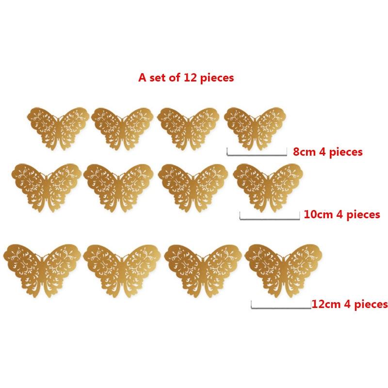 Купить с кэшбэком 12pcs/set 3D Metallic Feel Hollow Butterflies Wall Stickers Kids Rooms Wallpaper Party Wedding Decoration Art Mural Home Decor