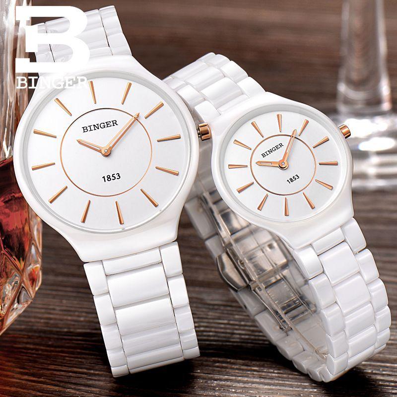 Genuine Luxury Switzerland BINGER Brand Ceramic Watches Men Women Couple Quartz Watches Slim Stylish Table Waterproof