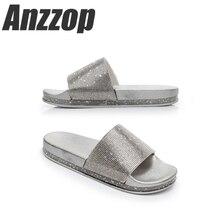 Luxury rhinestone ladies 2019 new slippers summer wear flip-flops beach seaside slip fashion luxury wild casual home