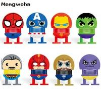 4PCS/8PCS Spring shake head emoticon Car Decoration Avengers Hulk spiderman Iron man display Doll Novelty funny toys For Chidren