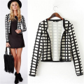 European Fashion Style Women Basic Jackets 2015 Hot Sale Long-sleeve Plaid Printing Slim Jacket Coat Brand Outerwear JK015