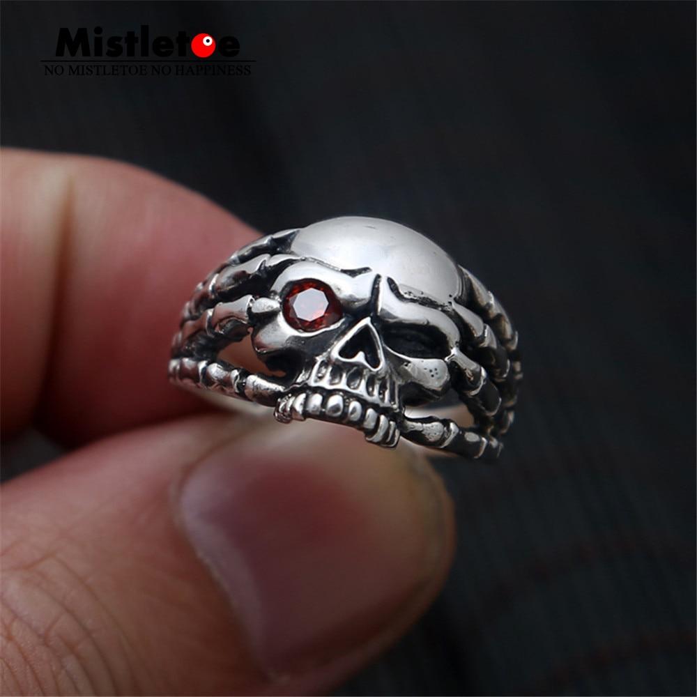 Genuine 100% 925 Sterling Silver Vintage Punk Locomotive Skull Red CZ Ring For Women Men Fashion Jewelry 925 retro fashion skull punk locomotive thai silver ring