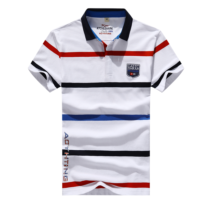 Summer 2019 New Men's Fashion Boutique Cotton Stripe Slim Leisure Short Sleeve   POLO   Shirts Male Embroidery Casual   POLO   Shirts