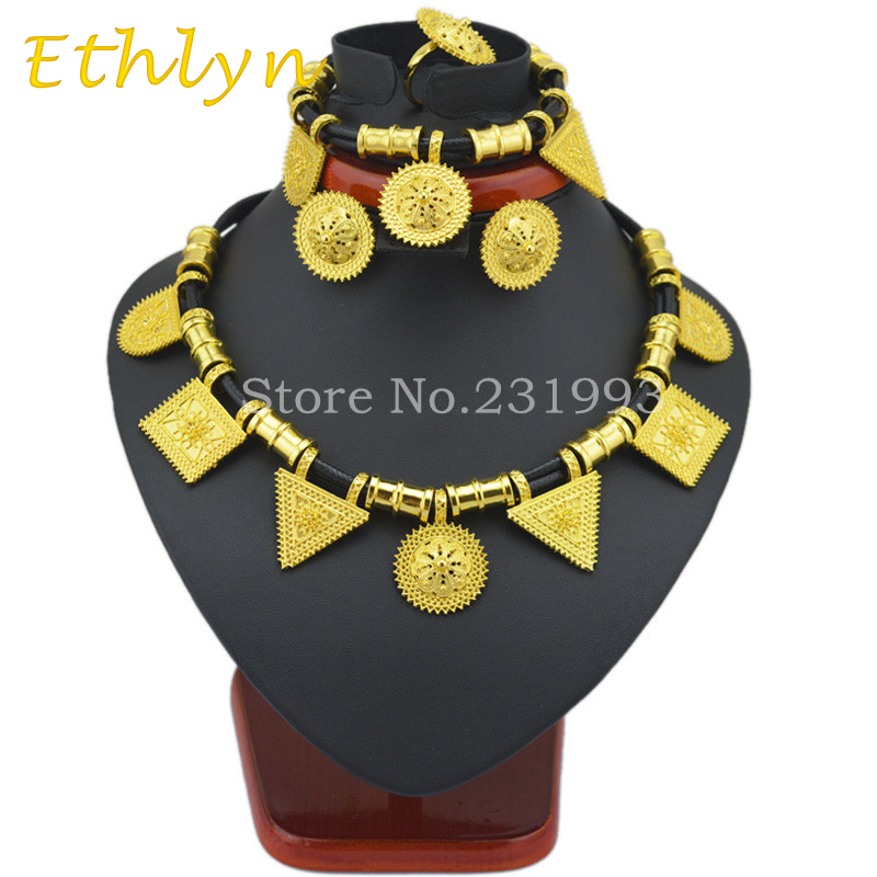 Ethlyn Cute and New Ethiopian jewelry sets 24k Gold plated rope sets for African Ethiopia Eritrean