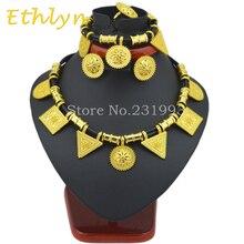 Ethlyn Lindo y Etíope Nuevos sistemas de la joyería 24 k chapado en Oro de la cuerda fija para África/Etiopía/Eritrea Mujeres joyería de la boda establece